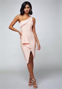 New Verano une épaule Bandage élégante robe drapée asymétrique moulante de Split Celebrity Club Party Dress For Ladies Rose Vestido