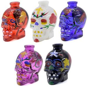 Sıcak Satış Çok Renkli Kafatası Cam Borular Sigara Boru Çiçek Baskı Su Borusu Sigara Aksesuarları Toptan 5 Renkler