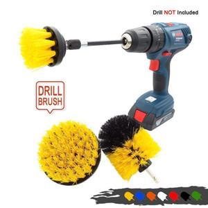 4pcs / set Puissance Puissance Puissance Clean Brush Pinceau Perceuse électrique Kit avec extension pour la voiture de nettoyage, siège, tapis, rembourrage q jlllau