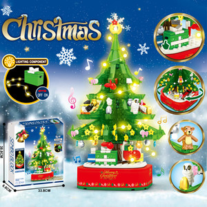 New Christmas Series Building Blocks Model Creator Music Tree Rotating with Figures Lights Sounds Toys For Children Xmas Gifts