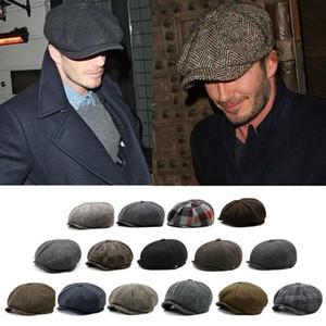 Остроконечных шоры Hat Newsboy Flat Cap Классической елочки твид 100 Wool Baker Boy Гэтсби Vintage 8 Панель Hat