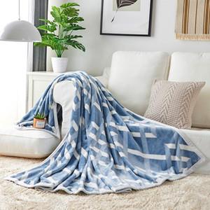 blue check plaid stripes flannel Fleece blanket Autumn winter soft throw  flat bed cover 1.2x2m 1.5x2m 1.8x2m 2x2.3m