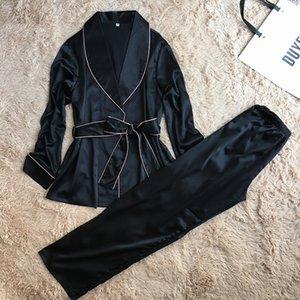 Daeyard High Grade Silk Satin Frauen Pyjama Set Langarmgewebe Und Hosen Weibliche Herbst Bademantelanzug Elegante Nachtwäsche Homewear 201102