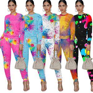 Kadınlar İki adet Kıyafetler Graffiti Uzun Kollu T Shirt Kazaklar + Pantolon Batik Splash Mürekkep Eşofman Moda Spor Giyim D92304 yazdır