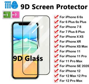 9D la cubierta completa de vidrio templado de la pantalla del teléfono protector para el iPhone 12 11 7 8 6 Xr Samsung A51 A71 A81 A91 A10 A20S A30S A40S M10S M30S