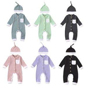 MUBINEO Baby Romper 0-24M Newborn Младенческий мальчик Девушка с длинным рукавом Карманные хлопковые Rompers Комбинезон Hat 2 Шт. Одежда 201027