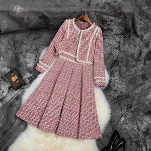 Banulina Inverno Nova Moda Mulheres Tweed Casaco curto e vestido Two-Peça Terno de Alta Qualidade Mulheres Beading Dress 2 peças Sets1