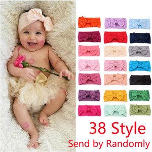DHL Ship Baby Headbands Bohemian Children Hair Band Unisex Baby Bow Knotted Hair Band Solid Color Elastic Hair Band 38 Style