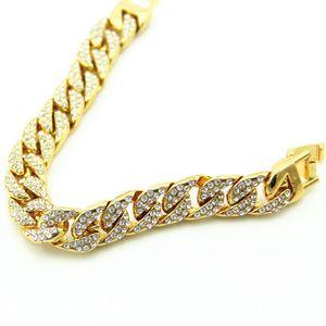 Mens Iced out Chain Bracelets Gold Cuban Link Chain Miami Bracelet New Fashion Hip Hop Jewelry Fashion Design