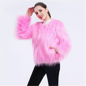 Fur Coat Women Black Pink Green 12 Colors S 4XL Plus Size Long Sleeve Faux Fur Jacket 2021 New Autumn Winter Fashion