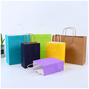 Shopping Bags Kraft Paper Multifunction High Quality soft color paper bag with handles Festival Gift Packaging Bag 21x15x8cm 164 K2