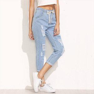 Summer Women Pants Casual Trousers For Ladies Blue Ripped Mid Waist Drawstring Skinny Denim Calf Length Jeans
