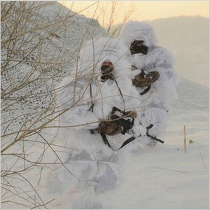 Winter 3D White Snow Ghillie Suits Sniper Tactical Woodland Hidden Clothes Universal Camouflage Set