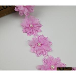 15 cortile rosa perla fiore chiffon tessuto di pizzo ribalta nastro per cucire per abbigliamento dao day nuziale nuziale Dol Qylrdr mj_bag