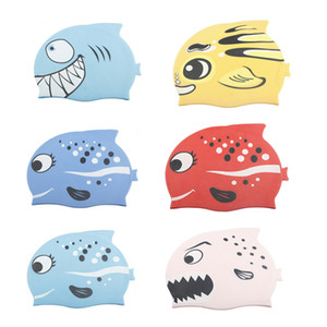 Kids swimming cap silicone sealed ear protection boys and girls swimming pool cap kids cartoon fish diving cap direct delivery