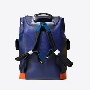 Mujeres clásicas para hombre Mochilas Real Cuero genuino Lujos de lujo Moda Azul Verde Black Designers Bolso Mochila Mochila Bolsas Back Pack 41x47x13cm