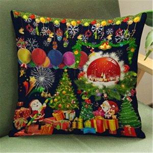 Suministros Funda de almohada Serie pequeño al por mayor fresca de la Navidad algodón de lino plaza cubierta de almohadas de Navidad ambiente decorativo del hogar qlQj #