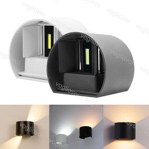 Açık Duvar Lambaları 6 W 12 W COB LED Yukarı Aşağı Aplik Yarı daire Lambası Açık Su Geçirmez IP65 Yatak Odası Başucu Işık Oturma Odası DHL