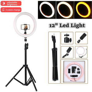 """12"""" LED Ring Light Photography Selfie Ring Lighting Dimmable with Tripod Phone Stand Smartphone Holder Ring Lamp Makeup Video EU LJ200910"""