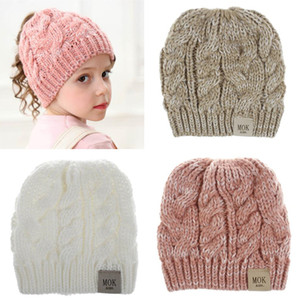 Kids Girls Ponytail Beanie Knitted Hats Kids Chunky Skull Caps Winter Cable Knit Slouchy Crochet Hats Fashion Outdoor Hats for sport