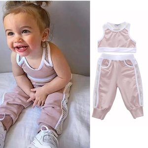 Wholesale INS Fashion Infant Baby Kids Girls Clothes Sets Sleeveless Tank T Shirts Tops+ Cotton Pants 2pcs Children Outfits