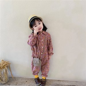 Girls Floral Printed Long Sleeve Jumpsuits INS new kids Lapep Single-breasted Romper children cotton overall A4686