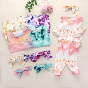 Baby Boy Girl Clothes Tie Dye Clothing Set Long Sleeve Romper Pants Bow Headband 3 pcs Fashion Infants Wear Winter Autumn Outfits