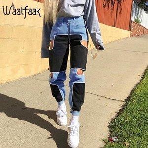 Waatfaak Black Blue Cargo Pants Women Casual Zipper Up Casual Trousers Fitnes High Waist Patchwork Pocket Joggers Cut Out 201228