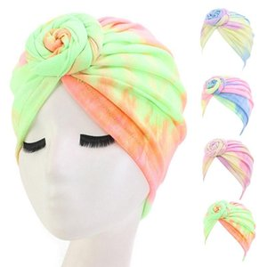 Women Bohemian Spiral Floral Knotted Turban Hat Stretch Lady Colorful Tie-Dye Hair Loss Chemo Cap Muslim Bandana India Headwrap