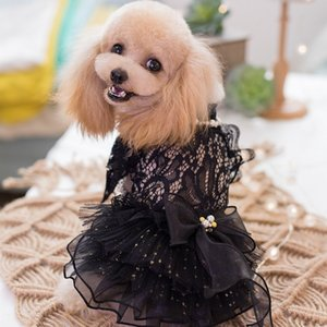 Free Shipping Handmade Dog Clothes Pet Dress Black Lace Hollow-Carved Design Pearl Chain Collar Cats Evening Gown Yorkie