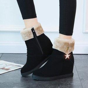 2021 Women Snow Boots Shoes Warm Short Fur Plush Winter Ankle Boots for Women Platform Ladies Shoes Warm Black