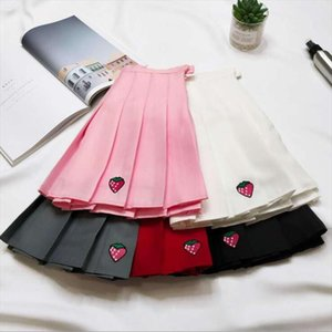 Autumn And Winter New Womens Pleated Skirt Strawberry Embroidery High Waist A Word Skirt Drop Shipping
