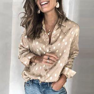 Elegante Polka Dot Frauen Bluse-Hemd Frühling Sommer Langarm Plus Size Tops Bluse Lässige Gold Damen Arbeitskleidung Top Hemd 201027