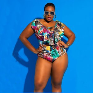 Plus Size Bikini Set Women's Swimming Suit High Waisted Swimsuit Woman African Bathing Suit Two Piece Ruffle Swimwear Badpak 5XL 1005