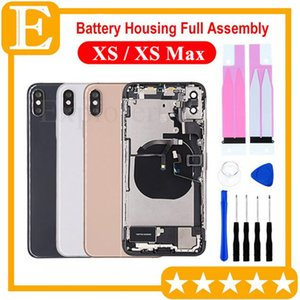 1Pcs for iPhone XS XS Max Full Back Battery Door Housing Middle Frame Panel Cover Assembly + Logo small parts Flex Cable Replacement Parts