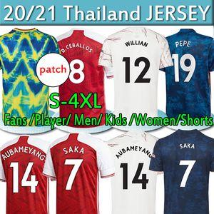 4XL Gunners Fans Versione giocatore Arsen Quarto Soccer Jerseys 2020 2021 Pepe Saka Ceballos Tierney Men Donne Donne Kids Kit Camicie da calcio Uniforme