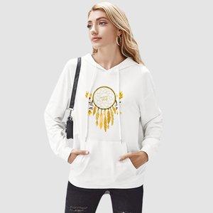Femmes Mode Sweatshirts Femmes fleurs et une lettre Imprimer Sweatshirts bricolage 2020 Automne Hiver Sweats à capuche Casual Solide Couleur Femmes Bricolage Vêtements