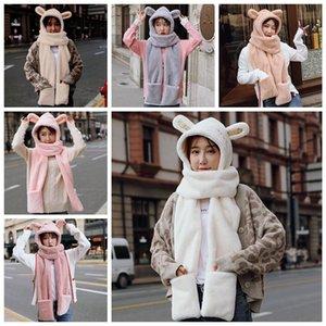 Womens 3 In 1 Warm Plush Winter Hat Cute Animal Ears Scarf Gloves Hoodie Cap