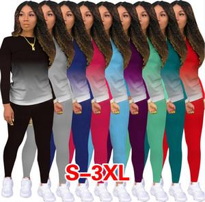Kadın Gradyan İki Adet Kıyafet Uzun Kollu T Shirt Kazak Bluzlar Tops ve Pantolon Tozluklar Tayt Artı boyutu Spor Casual Suit F92914