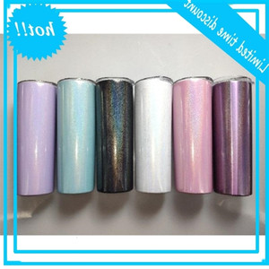 Sublimation 20oz Glitter Stainless Steel Skinny Tumbler Rainbow Tumblers Vacuum Insulated Beer Coffee Mugs with Straw free shipping