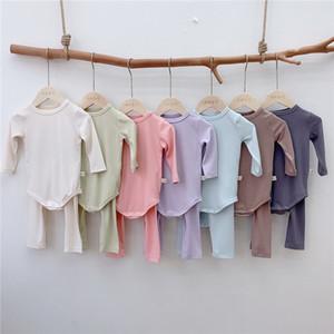 TLK 7 colores INS Fall Trajes para niños pequeños para niños Niños Niñas pijamas unisex en blanco de la manga larga de los mamelucos llanos del + pantalones 2pieces Pure trajes de algodón para bebés