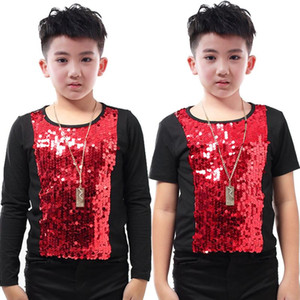 New Boys Stage Costume Singer Host Indossare Bambini Jazz Dance Costume Pailletted Maglietta T-shirt Hip Hop Performance Abbigliamento DQS2787