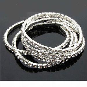 Wholesale New women Multilayer Tennis bangle Bracelets 1-5 Rows Clear Crystal Rhinestone elasticity Bracelet Fashion Jewelry Free shipping