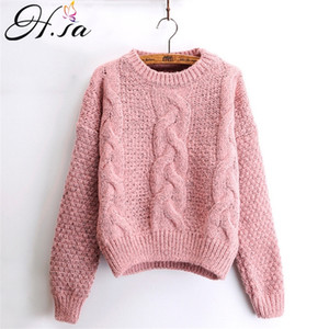 H.SA Women Winter Pullover and Sweaters Oneck Twisted Women Sweater Pull Femme Sweter Mujer Short Femninino winter sweater 201019