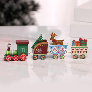 Wooden Train Decorative 2020 Christmas Decoration Painted Wood For Kids Toy Gift Box Packaging Home Indoor Window Ornament