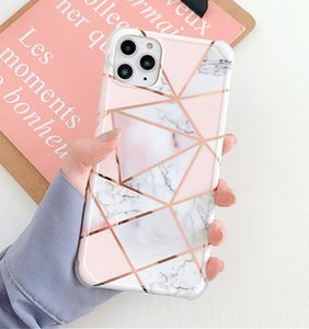 For iPhone 12pro Texture Case For iPhone 12 11 Pro Max X XS Max XR 7 8 Plus SE 2020 Plating Line Geometric Marble Case