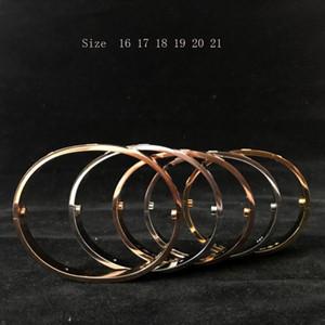 الأزياء والمجوهرات زوجين الحب أساور 316L التيتانيوم الصلب الإسورة أساور للنساء والرجال مسامير 3 اللون اختر الحجم (16-21)
