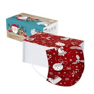 عيد الميلاد 50PC الكبار والأطفال قناع المتاح جودة عالية غير المنسوجة قناع 3Ply مشبك الأذن ضمادة الغبار واقية من قناع في غضون 24 ساعة