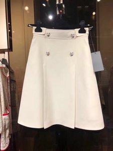 Designer 2019 Ivory Pink Tiger Buttons A Line Skirts Womens High End Summer Pleats Women's Skirts yy-55