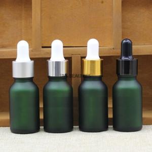 100 unids / lote 15ml 50ml Botella de cristal helada verde vacía con oro negro anillo plata goma goma goma gotero, aceite esencial
